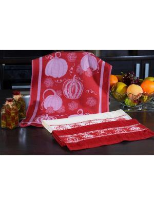 Набор кухонных полотенец ТЫКВА бордо (2х3шт.) 40х60 TOALLA. Цвет: бордовый