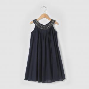 Платье с украшением на вырезе, 3-12 лет La Redoute Collections. Цвет: розовая пудра,синий морской