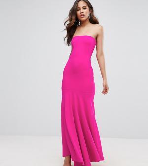 John Zack Tall Платье-бандо макси с юбкой-годе. Цвет: розовый