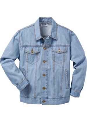 Джинсовая куртка классического покроя (голубой) bonprix. Цвет: голубой