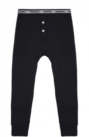 Хлопковые домашние брюки с манжетами Grigioperla. Цвет: синий