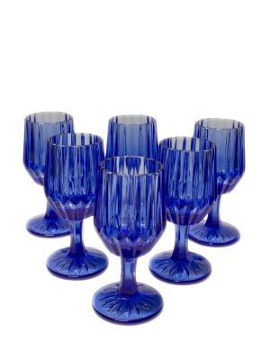 Набор бокалов Вэлиант для вина из цветного стекла, 6шт. DEEPOT. Цвет: синий