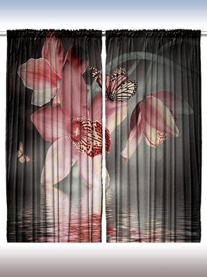 Комплект фотоштор для гостиной Розовые цветы, плотность ткани 175 г/кв.м, 290*265 см Magic Lady. Цвет: черный