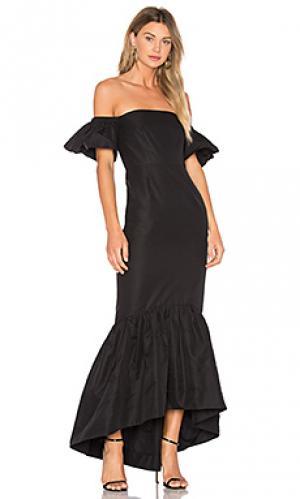 Макси платье с рюшами и открытыми плечами JILL STUART. Цвет: черный