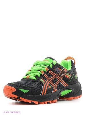 Спортивная обувь GEL-VENTURE 5 GS ASICS. Цвет: черный, зеленый, оранжевый