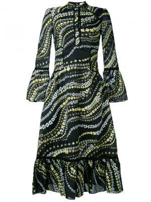 Платье с вышивкой и рюшами Erdem. Цвет: чёрный