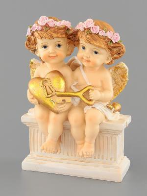 Фигурка  Ангелочки с ключиком Elan Gallery. Цвет: бежевый, золотистый, розовый