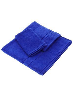Махровое полотенце синее Aisha. Цвет: синий