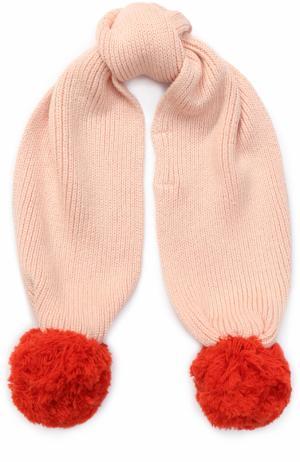 Вязаный шарф с помпонами Stella McCartney. Цвет: розовый