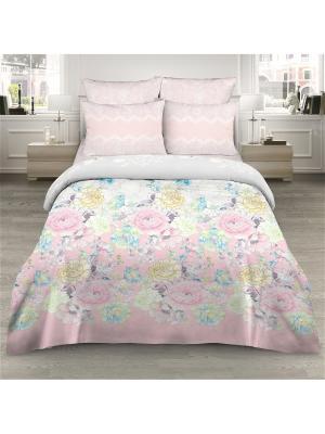 Комплект постельного белья из сатина 2 спальный Василиса. Цвет: розовый