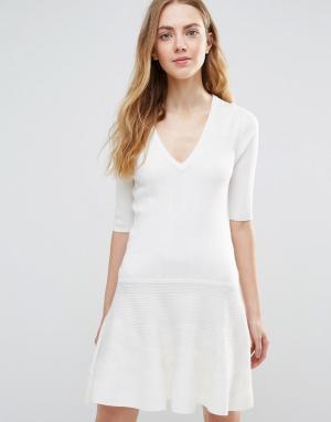 Ganni Белое платье мини Williams Classic. Цвет: белый