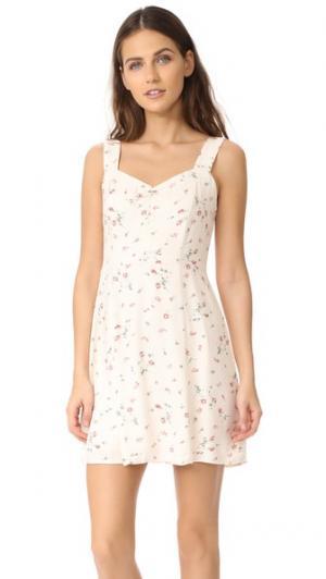 Мини-платье Hannah трапециевидного силуэта WAYF. Цвет: мелкий бледно-розовый принт