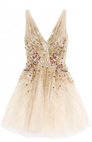 Приталенное мини-платье с контрастной вышивкой и V-образным вырезом Jenny Packham. Цвет: бежевый