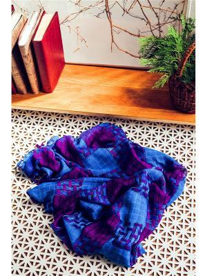 Яркий платок в крупную клеточку с бахромой, 95 x см. Nothing but Love. Цвет: фиолетовый, голубой