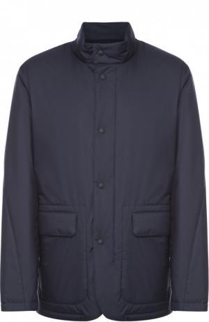 Утепленная куртка на молнии с воротником-стойкой Z Zegna. Цвет: темно-синий