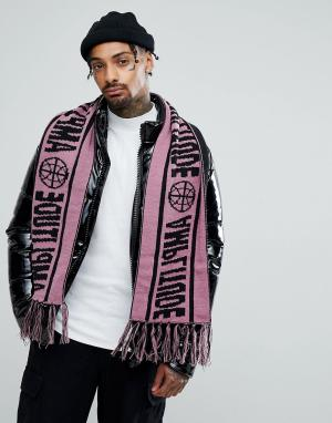 ASOS Сиреневый шарф с футбольным принтом. Цвет: фиолетовый