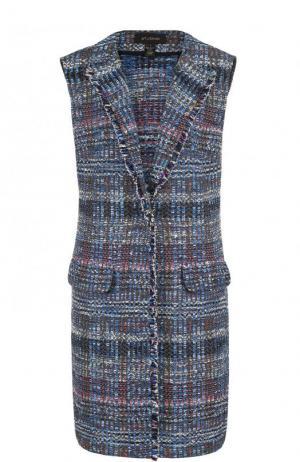 Удлиненный буклированный жилет с карманами St. John. Цвет: синий