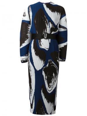 Плиссированное платье с принтом Else Solace. Цвет: синий