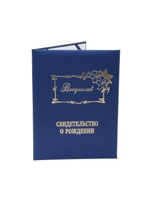 Именная обложка для свидетельства о рождении Владислав Dream Service. Цвет: синий