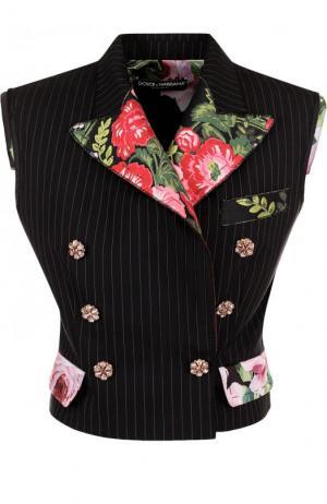 Приталенный шерстяной жилет с контрастной отделкой Dolce & Gabbana. Цвет: черный