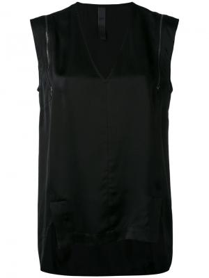 Блузка шифт с молнией Ilaria Nistri. Цвет: чёрный