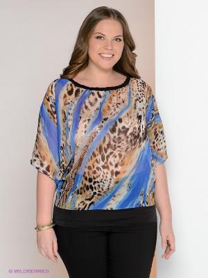 Блузка МадаМ Т. Цвет: синий, коричневый