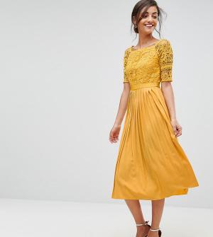 Little Mistress Tall Приталенное платье миди с кружевным топом и плиссированной юбкой Littl. Цвет: желтый