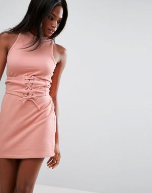 ASOS Платье мини с лифом-корсетом без рукавов открытой спиной. Цвет: розовый