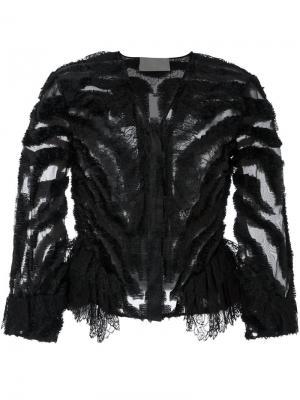 Прозрачный укороченный пиджак Alberta Ferretti. Цвет: чёрный