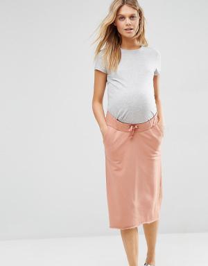 ASOS Maternity Трикотажная юбка для беременных в стиле casual со шнурком Materni. Цвет: розовый