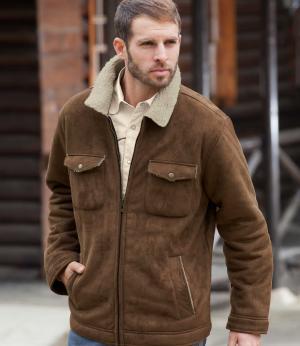Замшевая Куртка AFM. Цвет: коричневыи