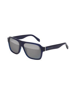 Солнцезащитные очки Alexander McQueen. Цвет: синий