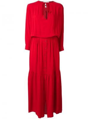Длинное платье на завязках 8pm. Цвет: красный
