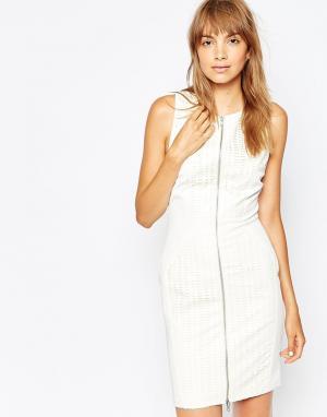 Suboo Платье с лазерной отделкой на молнии спереди. Цвет: белый