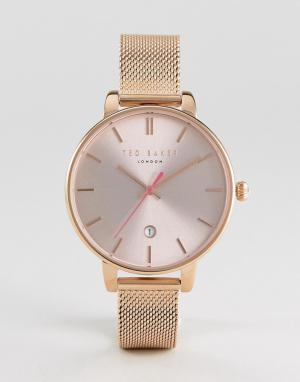 Ted Baker Часы цвета розового золота с сетчатым браслетом Kate. Цвет: золотой
