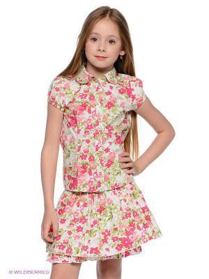 Блузка PlayToday. Цвет: малиновый, белый, салатовый, розовый