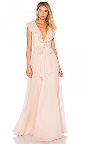 Вечернее платье с рюшами JILL STUART. Цвет: румянец