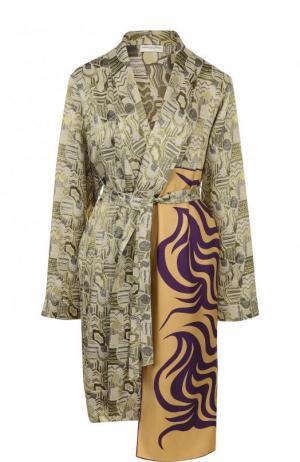 Пальто асимметричного кроя с поясом Dries Van Noten. Цвет: зеленый