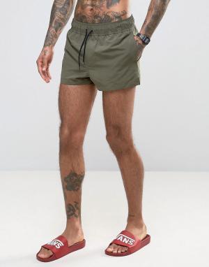 ASOS Короткие шорты для плавания цвета хаки. Цвет: зеленый