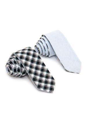 Галстук двухсторонний Churchill accessories. Цвет: черный, белый, зеленый