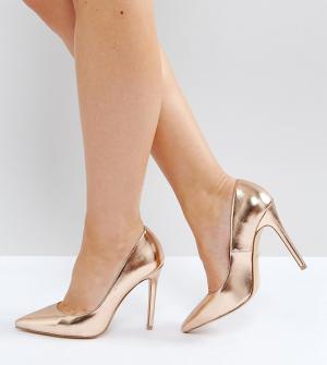 Faith Wide Fit Золотисто-розовые туфли-лодочки для широкой стопы Chloe. Цвет: золотой