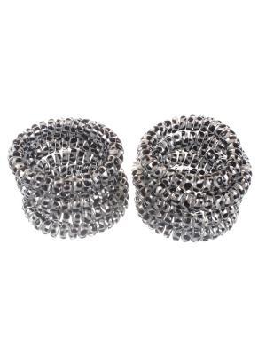 Резинки - спиральки для волос 5 см, серебристый леопард, тянучки, 10 шт в наборе Радужки. Цвет: серебристый