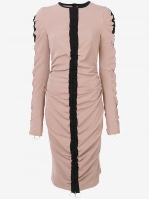 Платье с присборенной отделкой Marco Bologna. Цвет: телесный