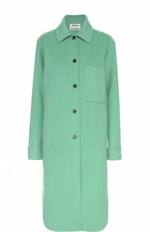 Шерстяное пальто прямого кроя с накладным карманом Acne Studios. Цвет: светло-зеленый