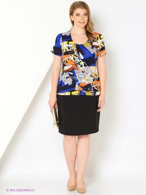 Блузка СТиКО. Цвет: синий, индиго, оранжевый, желтый, белый, черный