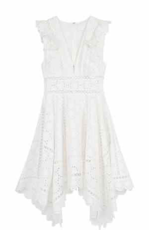 Хлопковое кружевное платье-миди Zimmermann. Цвет: кремовый