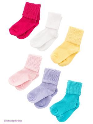 Носки, 6 пар Luvable Friends. Цвет: бирюзовый, сиреневый, малиновый, желтый, белый, розовый