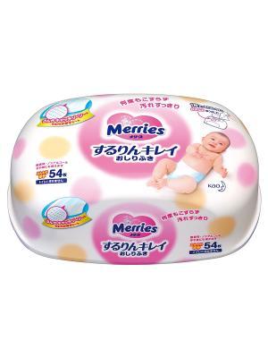 Детские влажные салфетки , Пластиковый контейнер, 54шт MERRIES. Цвет: белый