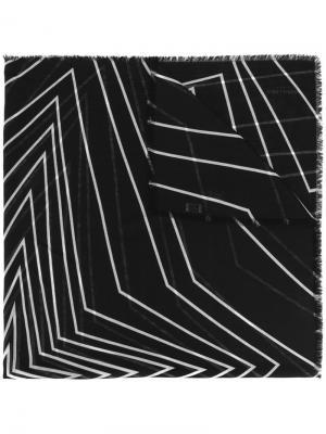 Платок с графическими линиями Saint Laurent. Цвет: чёрный