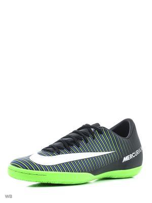 Бутсы MERCURIALX VICTORY VI IC Nike. Цвет: черный, белый, салатовый